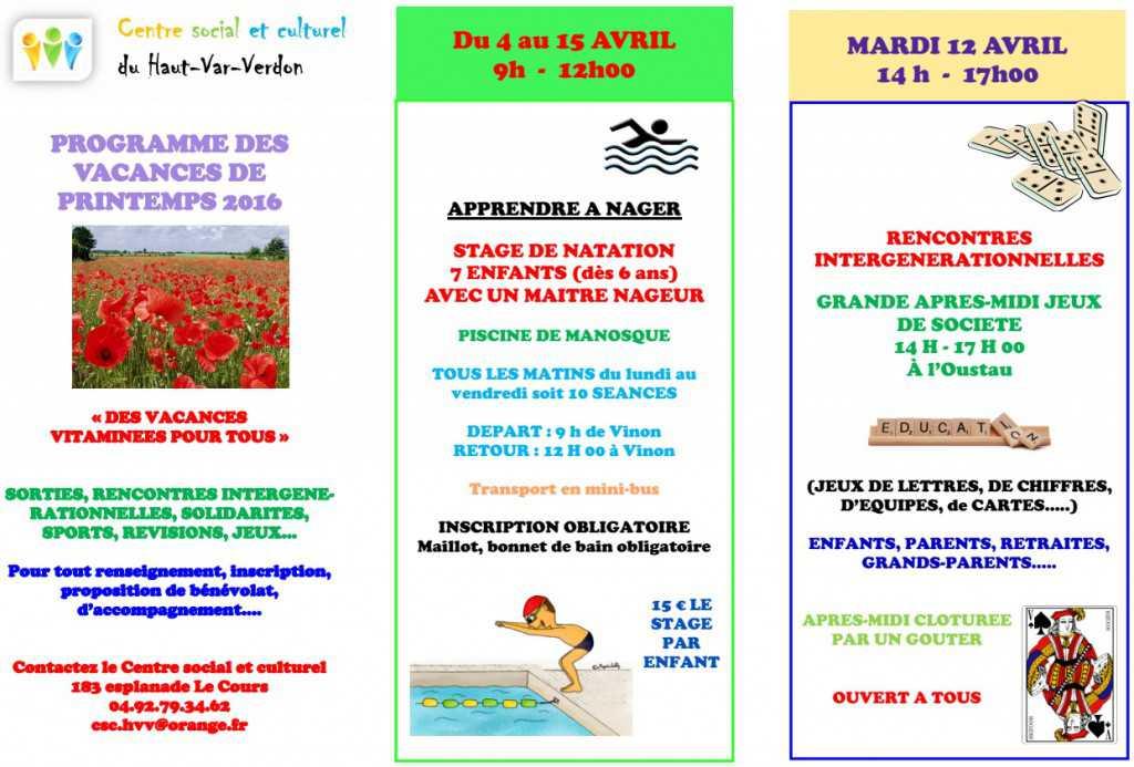 programme vacances AVRIL 1